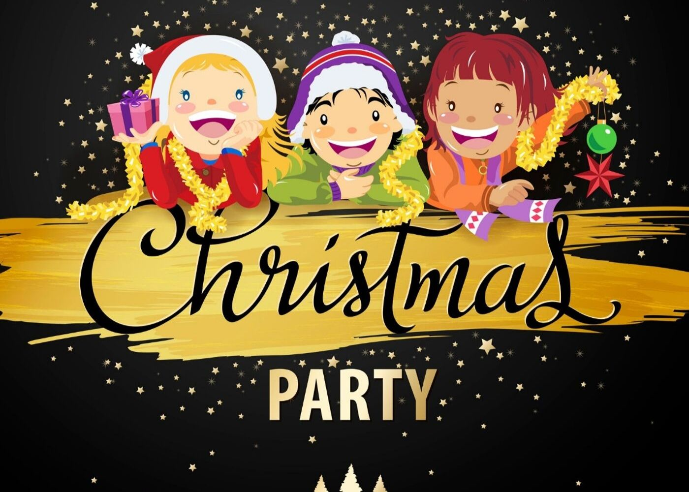 animated christmas party image of children wearing christmas clothes
