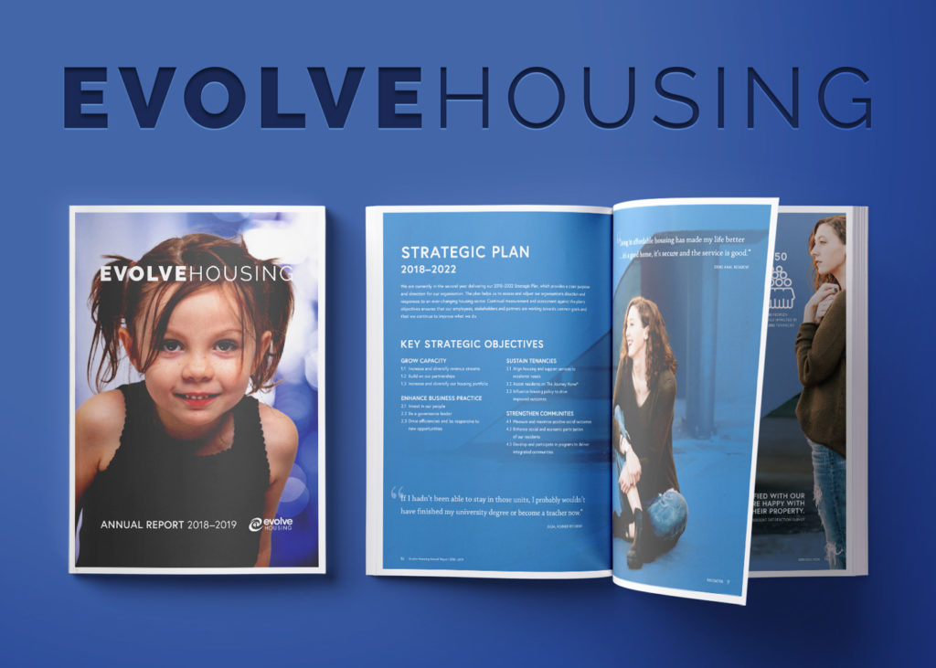 Image of front cover and two pages being flipped with words Evolve Housing at the top