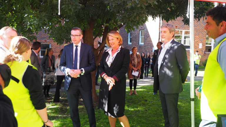 Evolve Housing CEO Lyall Gorman with the Treasurer, the Honourable Dominic Perrottet MP and the Minister for Water, Property and Housing, the Honourable Melinda Pavey MP
